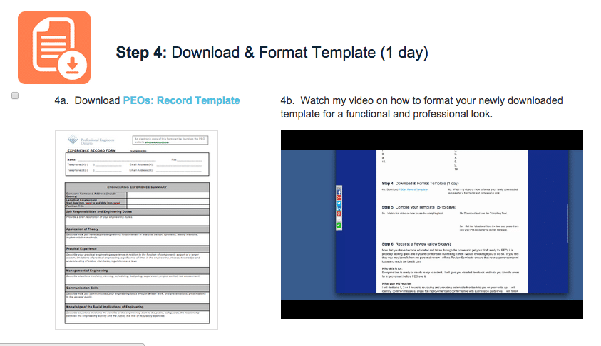 Module/Step 4 (1 day) - Is just downloading the latest PEO Experience Record template and properly format it.