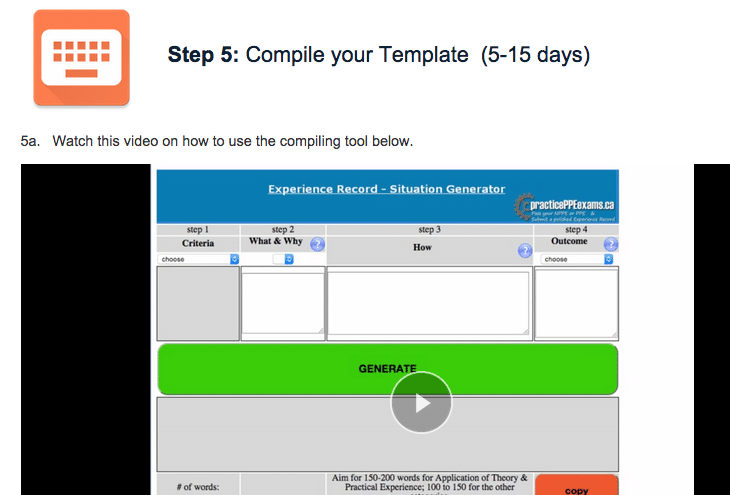 Module/Step 5 (5-15 days) - Enough learning, now it's your turn to compile your Experience Record. I spent 6 months developing a tool to help you with the process.