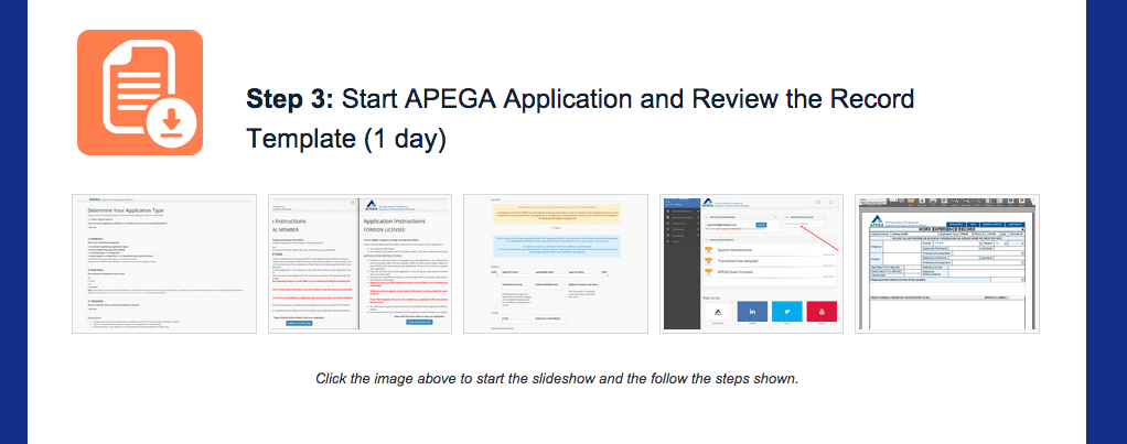 Module/Step 3 (1 day) - Start your APEGA application and become familiar with the Experience Record Template.