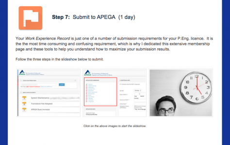 Module/Step 7 - You're finally ready to submit. Submit you package online to APEGA and wait for the decision.
